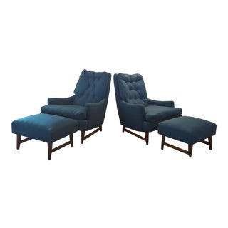 Vintage Selig Chairs With Footstools - Set of 4 For Sale