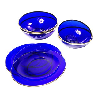 Vintage Cobalt Blue Glassware Bowls & Plates - Set of 7 For Sale