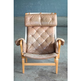 Pernilla Lounge Chair in Camel Colored Tufted Leather by Bruno Mathsson for Dux Preview