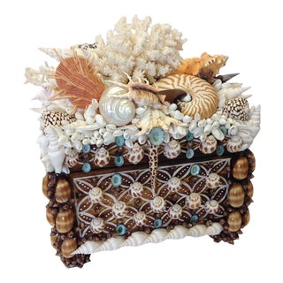 """""""El Morocco"""" Shelled Treasure Chest, Original Design, Signed by Coquillage Artist For Sale"""