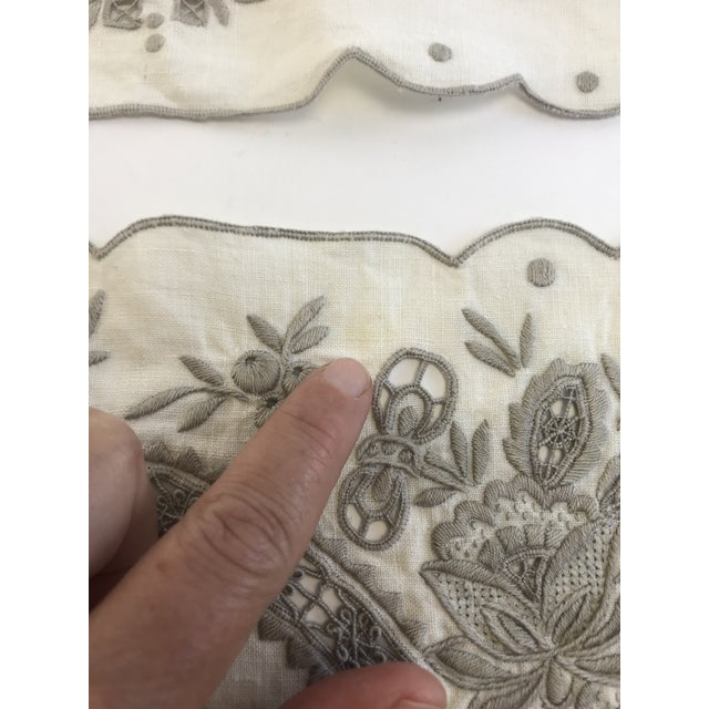 Linen Vintage Hand Embroidered Placemats and Table Runner - Set of 9 For Sale - Image 7 of 8