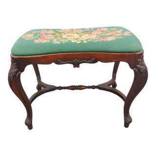 Louis XV Style Walnut Needlepoint Vanity Bench For Sale