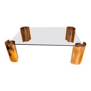 Vintage Karl Springer Attributed Two Tone Modern Cylinder Base Coffee Table For Sale