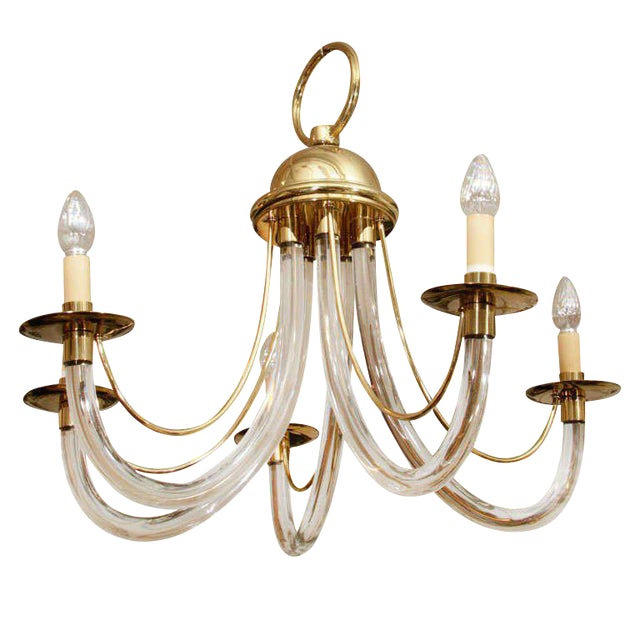 Modernist Lucite and Brass Chandelier For Sale