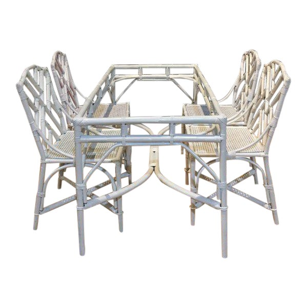 Chippendale Bamboo Dining Set - 5 Pieces For Sale