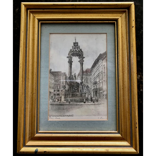 Gold Signed European Hand Tinted Engraving For Sale - Image 8 of 8