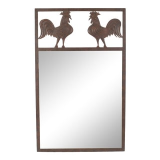 French Provincial Wrought Iron Rooster Wall Mirror For Sale