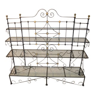 Vintage European Style Wrought Iron & Brass Bakers Rack