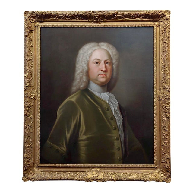 Portrait of an English Aristocrat in Green Coat-18th Century Oil Painting Possibly by Thomas Hudson For Sale