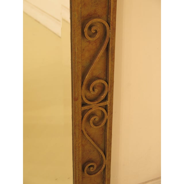 Iron Paint Decorated Designer Mirror with Beveled Glass For Sale - Image 4 of 7