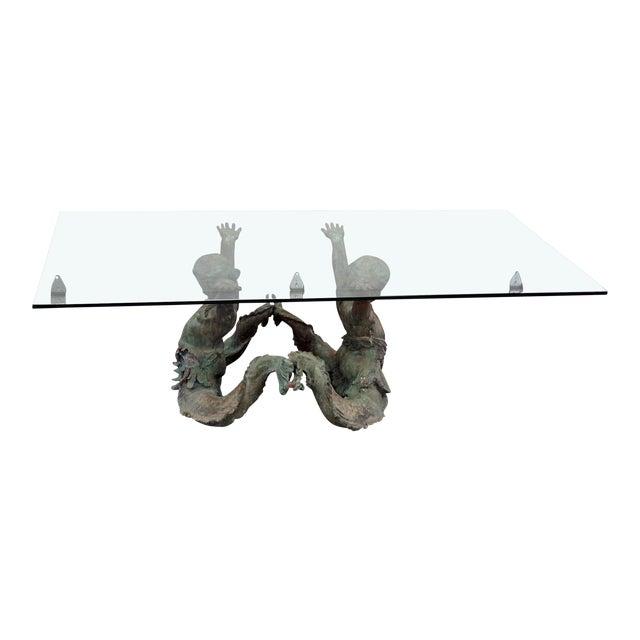 Bronze Putti DI Mare Glass Top Coffee Table For Sale