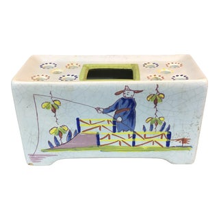 Delft Chinoiserie Flower Brick For Sale