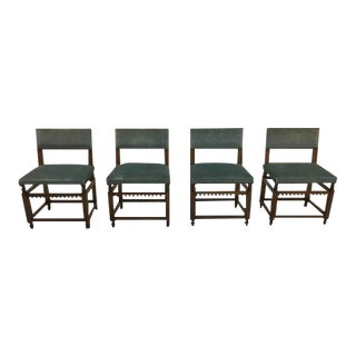 Set of 4 Dutch Vintage Mid-Century Jacobean Style Design Dining Side Chairs For Sale