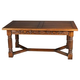 Vintage Carved Gothic Style Draw-Top Trestle Table by Kittinger, 20th Century For Sale