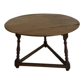 Vinatge Shaker Oak Wood Round Side Table For Sale