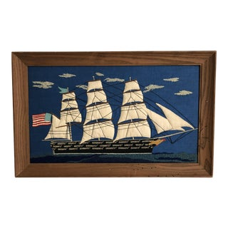 Americana Vintage Folk Art Clipper Ship Modern Farmhouse Seacoast Boho American Flag Chic Children's Room Framed Embroidery For Sale