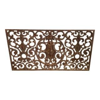 Cast Iron Panel W/Crest & Shields For Sale
