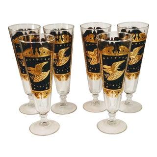 Vintage Gold & Black Eagle Pilsner Glasses - Set of 6 For Sale