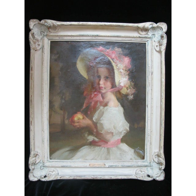 """Louis Betts Framed Young Girl """"Apple Blossoms"""" Portrait Oil Painting For Sale - Image 13 of 13"""