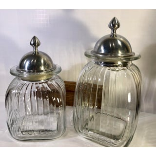 Rustic Mexican Glass Kitchen Containers With Pewter Lids - a Pair of Clear Glass Ribbed Collectible Preview