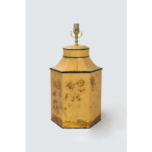 Vintage English Export Chinoiserie Style Yellow Hexagonal Tea Caddy Lamp For Sale - Image 10 of 10