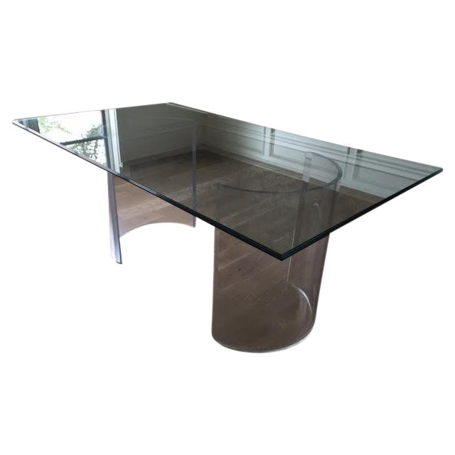 Vintage Lucite Base Dining Table For Sale