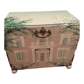 Hand Painted Wooden Girl's Treasure Chest For Sale