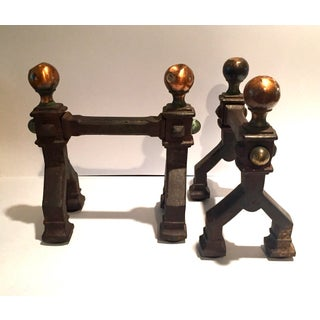 Gothic Art Deco Cast Iron Fireplace Tool Stands - a Pair Preview