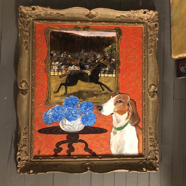 "Original ""Horse & Hound"" Dog Painting by Judy Henn For Sale In Philadelphia - Image 6 of 6"