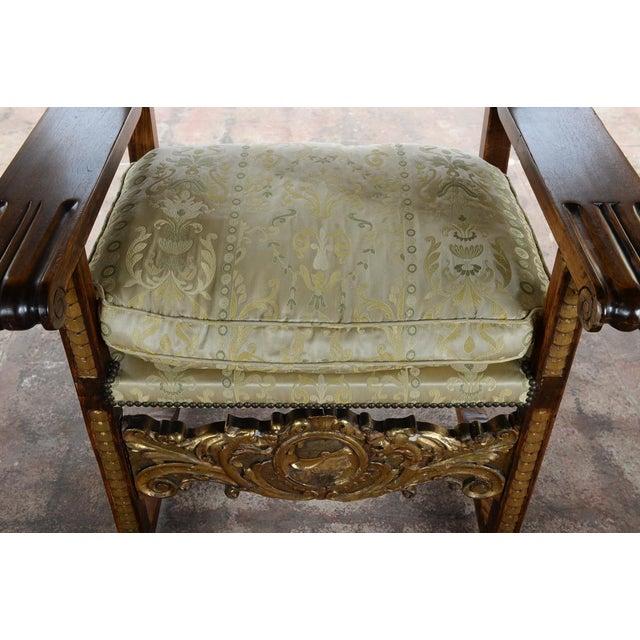 Textile Renaissance Arm Chairs - Pair For Sale - Image 7 of 10