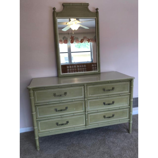 Green 20th Century Chinoisere Henry Link Bali Hai Faux Bamboo Dresser With Mirror For Sale - Image 8 of 8