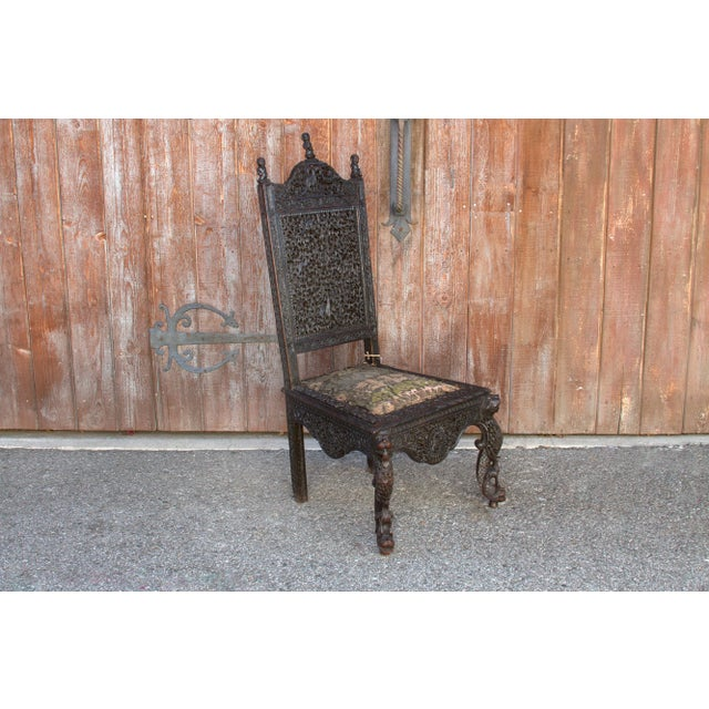 Black Anglo-Indian Intricate Carved Chair For Sale - Image 8 of 12