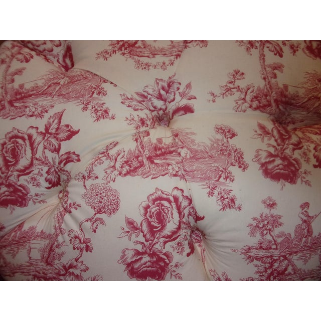 French Rose Toile Ottoman With Custom Braid and Band Trims For Sale - Image 4 of 9