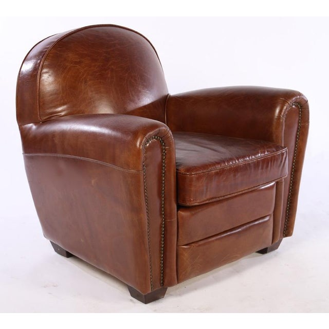 French Art Deco Style Leather Club Chairs - A Pair - Image 4 of 5