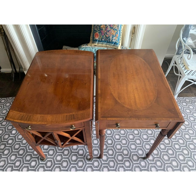 Pair of Federal Style Drop Leaf Side Tables For Sale - Image 4 of 12