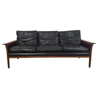 Hans Olsen for Mobler Vintage Black Leather Sofa For Sale