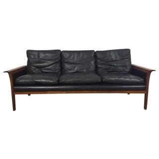 Hans Olsen for Mobler Vintage Black Leather Sofa