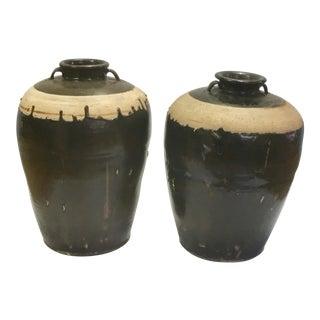 Antique Chinese Ebonized & Glazed Pottery Jars - A Pair