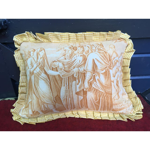 """Antique Toile """"The Chastity of Joseph"""" Pillow For Sale In Philadelphia - Image 6 of 6"""