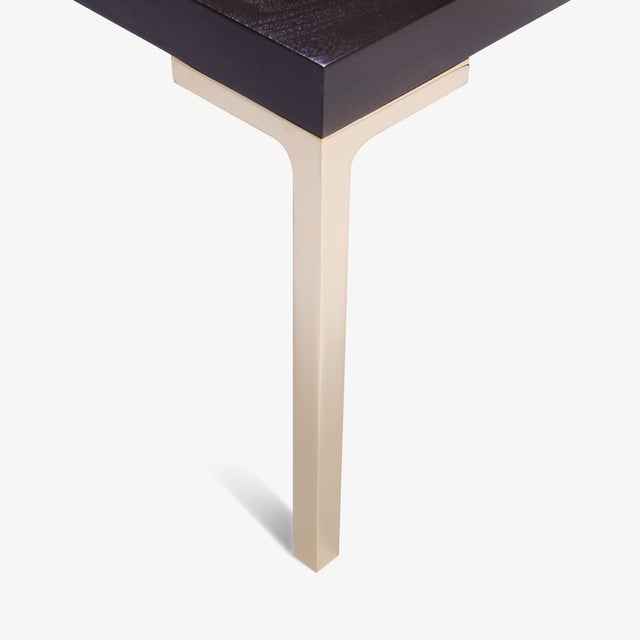 Astor Brass Occasional Tables in Walnut by Montage, Pair For Sale - Image 5 of 5