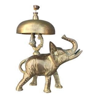 Antique Brass Elephant Hotel Desk Clerk Bell