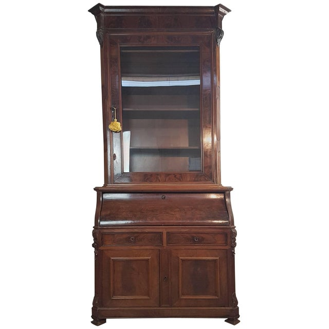19th Century English Mahogany Wood Bookcase With Secretaire For Sale - Image 12 of 12