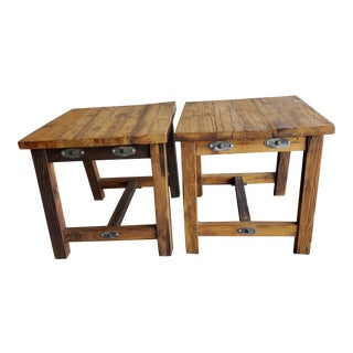 Two (2) Rustic Wood End Tables- - a Pair For Sale