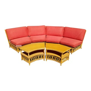 Mid Century Modern Ficks Reed Crescent Sectional Sofa & Tables For Sale