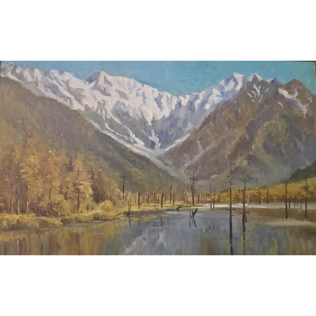Canvas Hiyashi NoBuo Large Oil on Canvas – Lake & Snow Mountains For Sale - Image 7 of 9