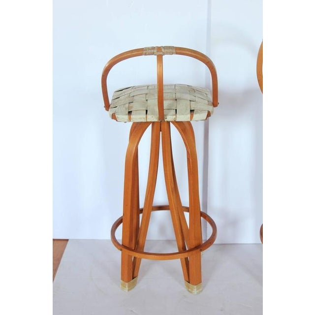 1980's Vintage Bentwood & Leather Bar Stools- A Pair For Sale - Image 4 of 4