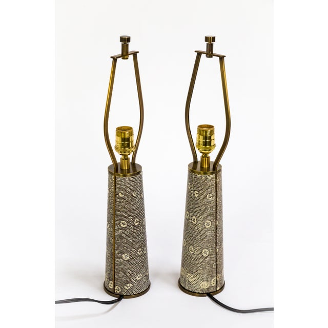 These lamps are an example of impeccable design and craft by Tuell & Reynolds. The harp integrates seamlessly into the...