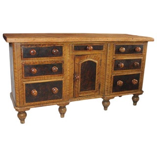 19th C. Original Painted Multi Drawer Credenza / Apothecary For Sale