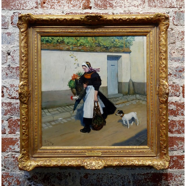 Jacques Wely -Woman & Her Jack Russel Dog Coming From the Market-Oil Painting For Sale - Image 13 of 13