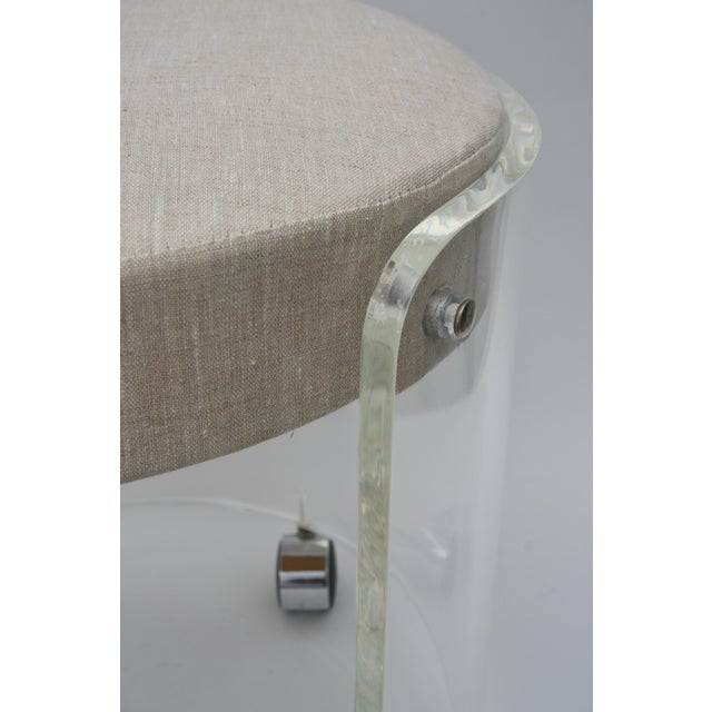 Acrylic Round Lucite Vanity Chair by Charles Hollis Jones 1970s For Sale - Image 7 of 9